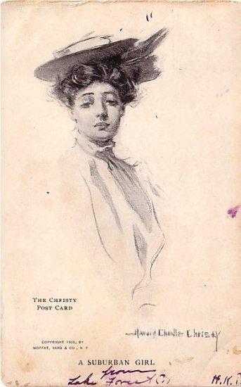 A Suburban Girl, Howard Chandler Christy 1905 Vintage Postcard - 3588