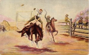 His First Experience by Cowboy Artist L.H. Larsen 1940 Linen Postcard - 3594