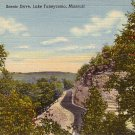 Scenic Drive to Lake Taneycomo at Branson Missouri MO, 1942 Curt Teich Linen Postcard - 3612