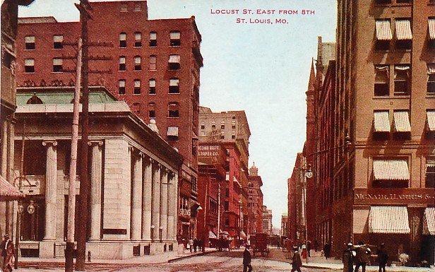 View of Locust Street in St. Louis Missouri MO, Vintage Postcard - 3653