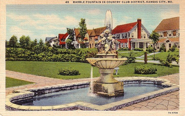 Fountain in Country Club District of Kansas City Missouri MO, 1937 Curt Teich Linen Postcard - 3670