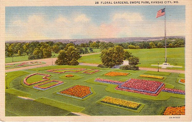 Floral Gardens in Swope Park at Kansas City Missouri MO, 1932 Curt Teich Linen Postcard - 3671