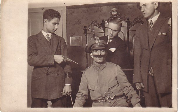 Young Men Acting in Play, Real Photo Post Card RPPC - 3691