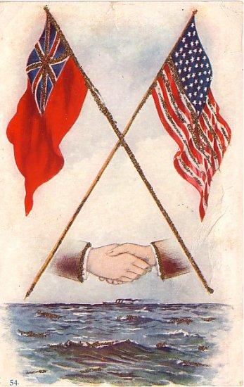 United Kingdom and United States Hands Across the Sea Vintage Postcard - 3702