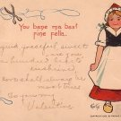 Artist Signed 1902 Vintage Valentine's Day Postcard with Dutch Girl by E. Curtis - 3707