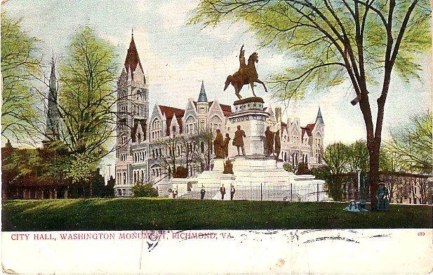 Washington Monument in front of City Hall at Richmond Virginia VA, 1906 Vintage Postcard - 3709