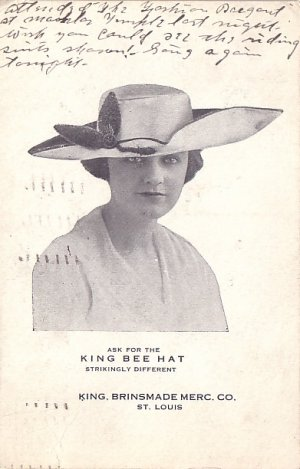 Ask for the King Bee Hat, 1917 Advertising Postcard - 3722