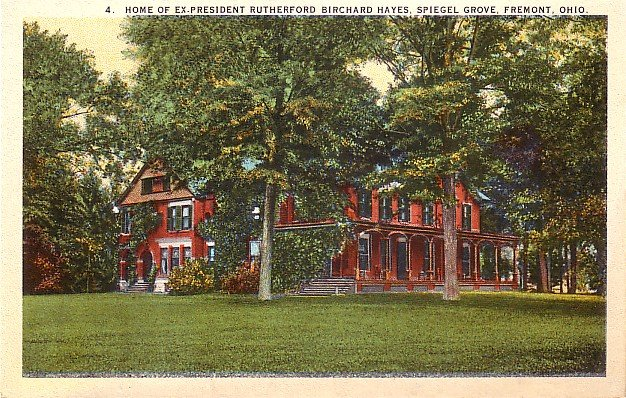 Rutherford Birchard Hayes Home at Fremont Ohio OH, Curt Teich Vintage Postcard - 3745