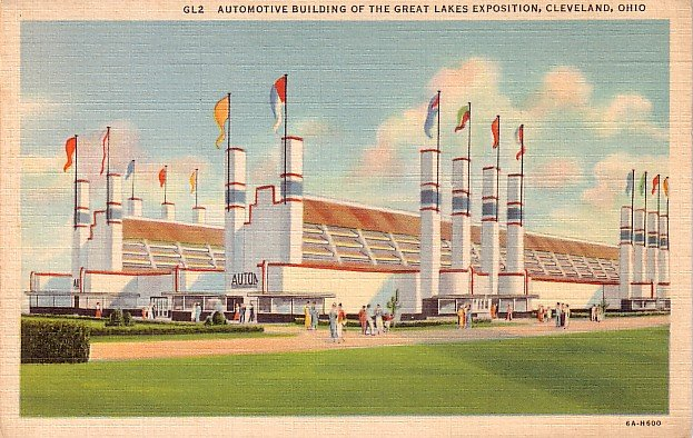 Automotive Building of The Great Lakes Exposition at Cleveland Ohio OH, 1936 Postcard - 3765