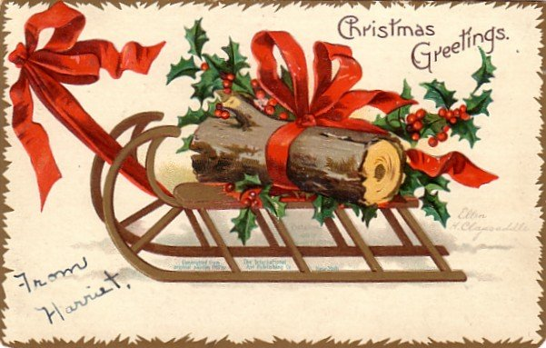 Yule Log on Sled Christmas Greetings by Ellen H. Clapsaddle, 1907 Vintage Postcard - 3785