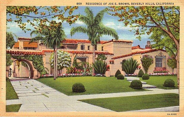 Residence of Joe E. Brown in Beverly Hills California CA 1936 Curt Teich Linen Postcard - 3795