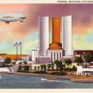 Good Year Blimp over the Federal Building at the Chicago World's Fair, Linen Postcard - 3805