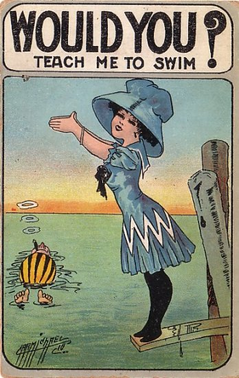 Artist Signed by Carmichael, Would You Teach Me to Swim?, 1910 Vintage Postcard - 3831