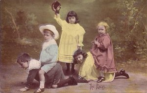 The Races, Tinted Real Photo Post Card of Children Playing, RPPC - 3845