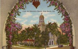 St. Edwards Church in Palm Beach Florida FL, 1940 Curt Teich Linen Postcard - 3847