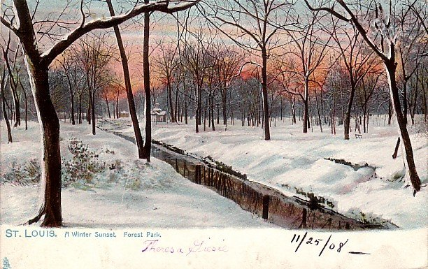 Winter Sunset in Forest Park at St. Louis Missouri MO, Raphael Tuck & Sons Postcard - 3872