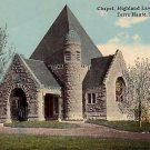 Chapel in Highland Lawn Cemetery at Terre Haute Indiana IN, Vintage Postcard - 3873