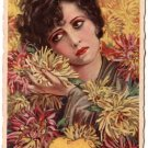Sad Lady with Yellow Chrysanthemums Vintage Postcard - 3885