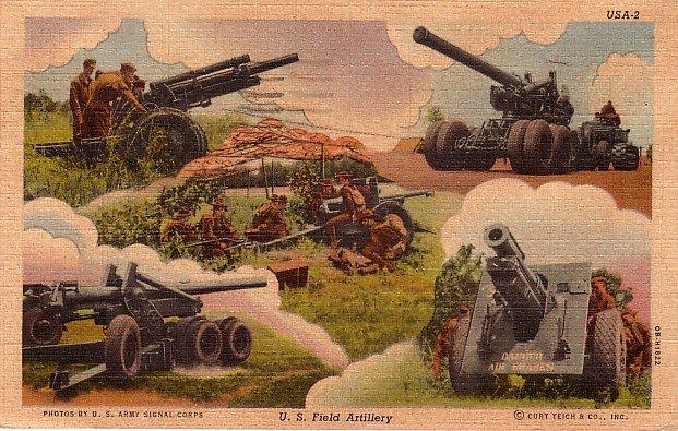 United States Field Artillery 1940 Curt Teich Linen Postcard - 3897