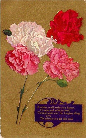 Carnations on Gold Background Vintage Postcard - 3999