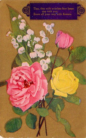 Roses with Lily of the Valley Flowers Vintage Postcard - 4000