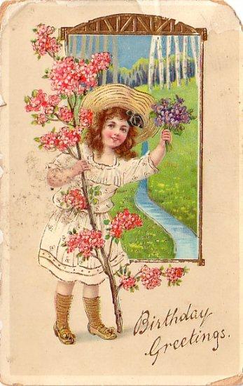 Girl with Dogwood Branch Birthday Greetings Vintage Postcard - 4023