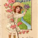 Girl with Dogwood Branch Birthday Greetings Vintage Postcard - 4023