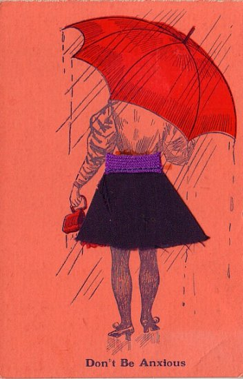 Lady with Fabric Skirt, Novelty Vintage Postcard - 4029