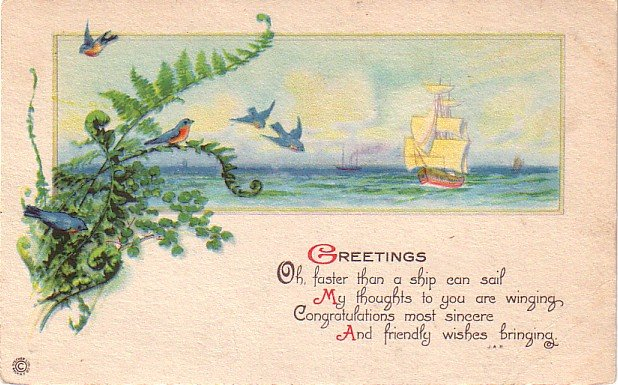 Blue Birds in Tree Flying Towards Ship, Greetings Vintage Postcard - 4030