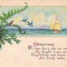 Blue Birds in Tree Flying Towards Ship, Greetings Vintage Postcard - 4030