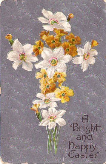 A Bright and Happy Easter Greetings, 1909 Vintage Postcard - 4031