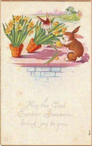 Naughty Bunnies Knocking Over Flower Pots, 1923 Easter Vintage Postcard - 4035