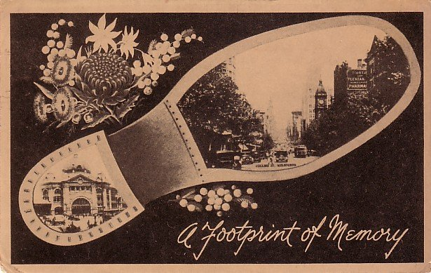 A Footprint of Memory, Collins Street in Melbourne Australia, 1945 Vintage Postcard - 3909