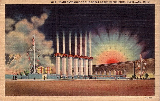 Main Entrance to the Great Lakes Exposition at Cleveland Ohio OH, 1936 Curt Teich Postcard - 3911