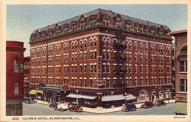 Illinois Hotel in Bloomington IL, 1936 Curt Teich Linen Postcard - 3916