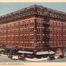 Illinois Hotel in Bloomington IL, 1936 Curt Teich Linen Postcard - 3916
