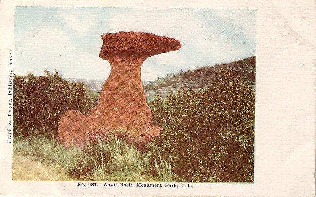 Anvil Rock at Monument Park in Colorado CO, Vintage Postcard - 3927