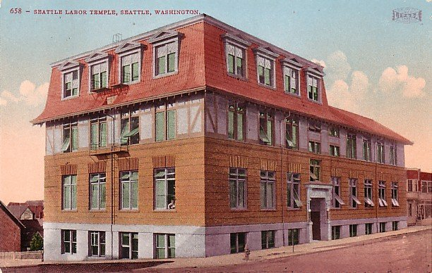 Seattle Labor Temple in Washington WA, Edward H Mitchell 1909 Vintage Postcard - M0006
