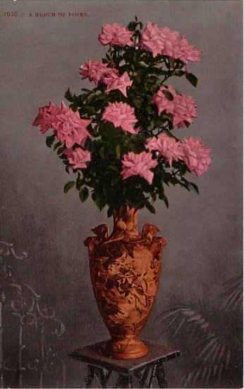 A Bunch of Roses, Edward H Mitchell 1909 Vintage Postcard - M0011