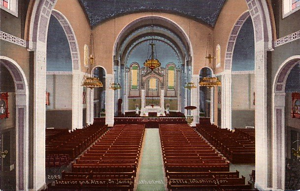 St James Cathedral Altar in Seattle WA, Edward H Mitchell 1909 Vintage Postcard - M0038