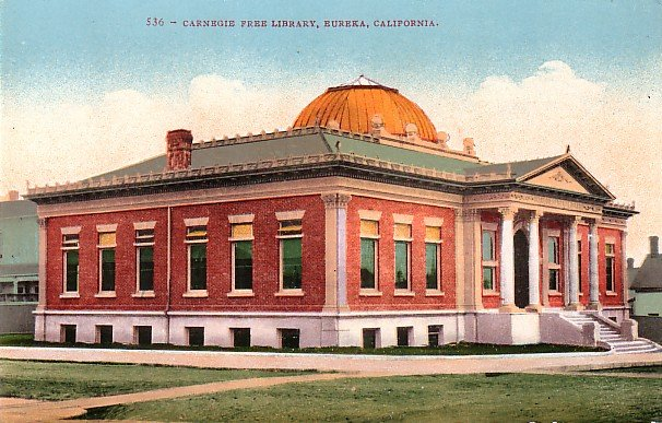 Carnegie Library in Eureka California CA, Edward H Mitchell 1910 Postcard - M0047