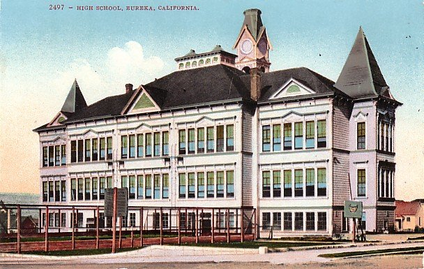 High School in Eureka California CA, Edward H Mitchell 1910 Vintage Postcard - M0091