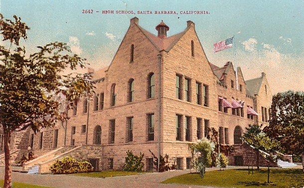 High School in  Santa Barbara California CA, Edward H Mitchell Vintage Postcard - M0099
