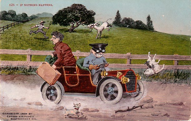 If Nothing Happens, Edward H Mitchell Vintage 1908 Comic Postcard - M0162
