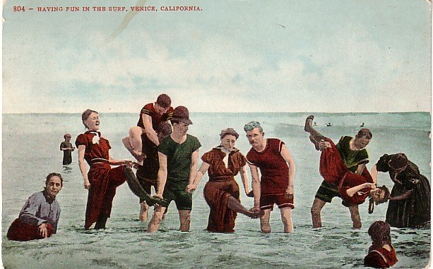 Having Fun in the Surf in Venice California CA Edward H Mitchell 1907 Postcard - M0169