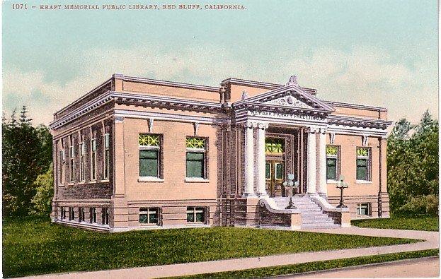 Kraft Memorial Public Library in Red Bluff California CA, Edward H Mitchell 1907 Postcard - M0183
