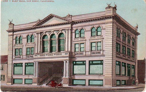Elks Hall in San Diego California CA, Edward H Mitchell 1907 Postcard - M0191