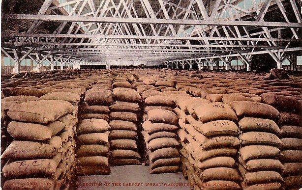 Wheat Warehouse in Tacoma Washington WA, Edward H Mitchell Vintage 1908 Postcard - M0199
