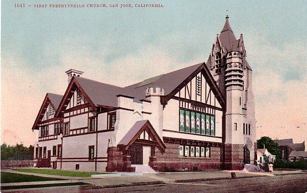 First Presbyterian Church in San Jose California CA Edward H Mitchell Vintage 1908 Postcard - M0204
