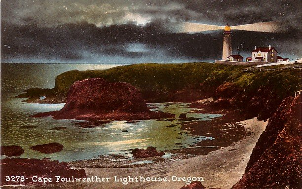 Cape Foulweather Lighthouse in Oregon OR Edward H Mitchell 1911 Vintage Postcard - M0221